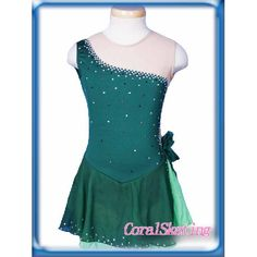 New gorgeous Ice figure skating dress 130-2A -cheap green beaded short sleeves ice skating dress