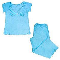Aqua Blue Womens Capri Pants Pajama Set Medium ** More info could be found at the image url.