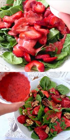 Spinach strawberry walnut salad recipe with lemon poppy seed dressing and candies walnuts ⭐️⭐️⭐️⭐️⭐️ #plantbased #veganrecipes #plantbaseddiet #salad #easyrecipe #rawvegan