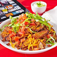 Potato Nachos for dinner: 500 calories. Try the #recipe here: http://www.fitnessmagazine.com/workout/you-can-do-it/500-calorie-dinner-recipes/?page=6