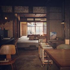 Well-renovated interior of Hygge, Kyoto.
