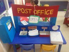 The Jolly postman post office :) Writing Center Preschool, Writing Area, Preschool Centers, Dramatic Play Themes, Dramatic Play Area, Dramatic Play Centers, Play Based Learning, Learning Through Play, Role Play Areas Eyfs