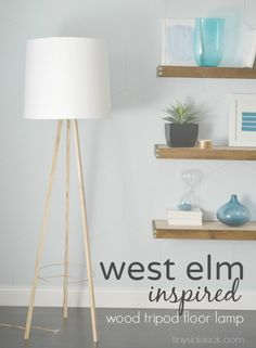 West Elm Inspired Tripod Floor Lamp {Knock Off Decor Series} Great step by step tutorial to make this lamp! No fancy tools required! - Tripod Floor Lamps - Ideas of Tripod Floor Lamps Diy Tripod, Tripod Lamp, Living Room Flooring, Diy Flooring, Flooring Ideas, West Elm, Diy Luminaire, Diy Floor Lamp, Knock Off Decor