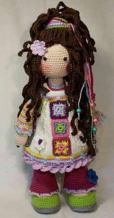 Modern Hippie 38309 Crochet pattern for doll YUNA pdf Deutsch English Crochet Pattern Free, Crochet Dolls Free Patterns, Doll Patterns, Knitting Patterns, Pattern Ideas, Pattern Pictures, Crochet Amigurumi, Amigurumi Doll, Crochet Toys