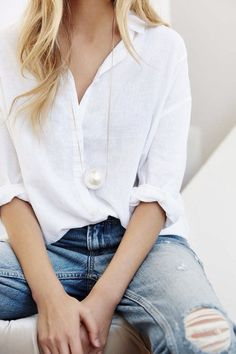 {White and denim.}
