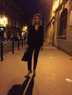 Soirée look.. Jacket & pants THE KOOPLES, bag YvesSaintLaurent, heels CHRISTIAN LOUBOUTIN.
