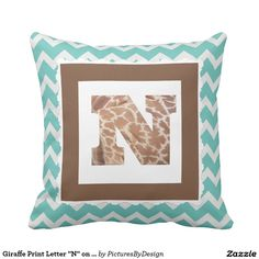 "Giraffe Print Letter ""N"" on Mint/White Chevron Throw Pillows"