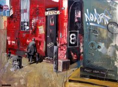 "Marcus Antonious Jansen  ""Life Behind the Dumpster""  Oil Enamel on Canvas   36"" x 48""  2003"