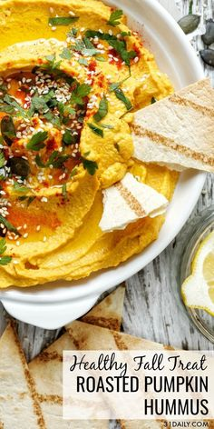 Roasted Garlic Pumpkin Hummus, A Quick, Savory And Healthy Fall Treat For Gamedays, Tailgating, Or Autumn Entertaining. Unfathomably Creamy And Delicious. So Easy You'll Make It All Season Long Roasted Pumpkin Hummus: A Healthy Fall Treat Pumpkin Hummus, Roast Pumpkin, Pumpkin Pumpkin, Clean Eating Snacks, Healthy Snacks, Healthy Recipes, Quick Snacks, Healthy Hummus, Healthy Appetizers