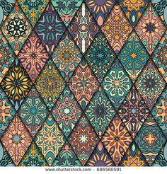Colorful vintage seamless pattern with floral and mandala. Vintage Art Prints, Vintage Colors, Vintage Patterns, Motif Design, Design Art, Pattern Floral, Magic Illusions, Art Chinois, Art Nouveau Poster