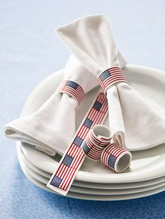 Slap bracelet napkin rings for 4th of July :) Can also buy generic slap bracelets and cover them with fabric to match any party theme...