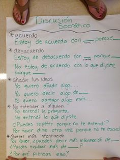 Socratic seminar sentence frames in Spanish. Student discourse.:
