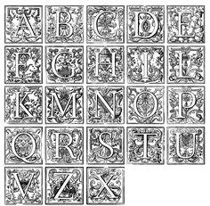 Galerie de coloriages gratuits coloriage-alphabet-vintage. Ancien alphabet agrémenté de divers motifs décoratifs.  A imprimer et colorier !