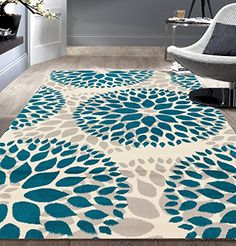 World Rug Gallery Newport Blue Area Rug Rug Size: Runner x Home Design, Design Loft, Floral Area Rugs, Blue Area Rugs, Hallway Colours, Modern Floral Design, Interior Design Minimalist, Modern Interior, Bleu Turquoise