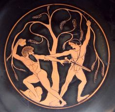 Theseus and Sinis. Tondo of an Attic red-figure kylix, 490/80 BC