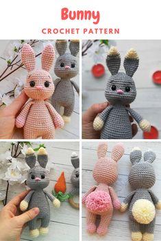 Amigurumi Bunny Crochet pattern, little Bunny - Owl Knitting Pattern, Easter Bunny Crochet Pattern, Crochet Teddy, Plush Pattern, Crochet Animal Patterns, Crochet Bunny, Crochet Patterns Amigurumi, Crochet Dolls, Knitting Patterns Free