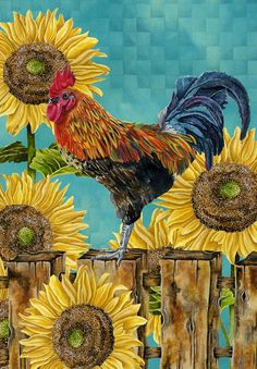 LOVE the sunflowers with the rooster   Art Print 8x10. Rooster Majestic Fall Edition. $18.00, via Etsy.