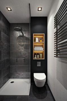 aménagement petite salle de bain avec toilette, modèle de rangement vertical et peinture murale en noir matte