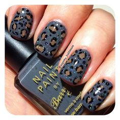 A grey leopard spot mani - Barry M 'Grey' & 'Mushroom'. - @xxpinky_bubblesxx