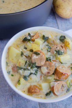 Sausage And Potato Bake, Smoke Sausage And Potatoes, Potato Bacon Soup, Creamy Potato Soup, Crockpot Recipes, Soup Recipes, Cooking Recipes, Healthy Recipes, Lunch Recipes