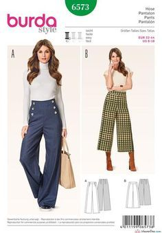 Burda Patterns, Easy Sewing Patterns, Clothing Patterns, Clothing Ideas, Shirt Patterns, Dress Patterns, Wide Leg Trousers, Trousers Women, Pants For Women