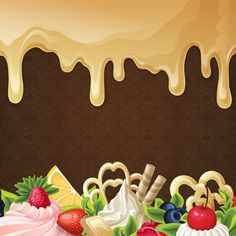 beautiful vector background material fruits chocolate ice cream, Beautiful, Vector, Fruit, Background image