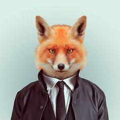Inspecteur renard. Zoo Animals : des animaux habillés pour les photographes