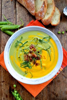 CARROT PEA SOUP W/ PANCETTA, BASIL & MINT, Say hello to Spring #carrotpeasoup #pancetta
