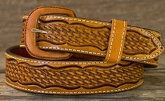 Leather Belt - Russet Scalloped Basket - Western Leather Belts - Leather