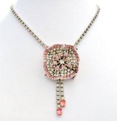 Flower Necklace Pink Clear Rhinestones by TheJewelryLadysStore