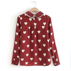 Stylish Turn-Down Collar Heart Embellished Long Sleeves Women's BlouseVintage Blouses | RoseGal.com