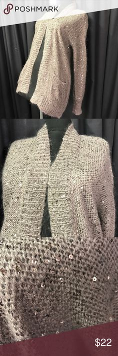 Small Express Cardigan sweater sequined Like new / barely worn sz small. Fun irradescent sequins throughout. Open front. From Express. I have oodles of others listed so ✔️them out to save 💲on bundles! I ❤️offers and bundles!! Express Sweaters Cardigans