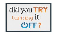 Funny cross stitching pattern about technology available via instant download