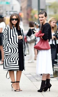 Miroslava Duma And Natalia Alaverdian  Op art Dries Van Noten coat or Magic Eye painting?     Photo:  YoungJun Koo/I'M KOO