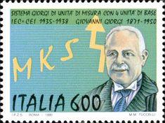 1990 - Sistema MKS-Giorgi - Ritratto di Giovanni Giorgi, le unità di misura M.K.S. e una freccia simboleggiante la quarta unità di misura.