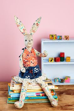 Harriet, our pretty March hare, is full of the joys of spring. Her long ears and limbs mean she's bursting with character, and to top it off we've fashioned her a stylish lace-trimmed dress stitched in prints from Cloud9 Fabrics' Wildwood range. She's the perfect picnic companion, but is shaped to perch on a shelf or sofa when she's not attending tea parties.