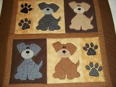 New Handmade Baby Girl Boy Quilt Crib Blanket Puppies Appliqued Dog Patchwork | eBay