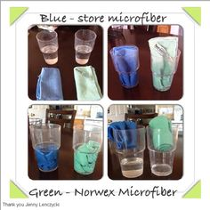 Just a quick demonstration of the absorbency of a regular Norwex Envirocloth vs an off-the-shelf purchased microfiber cloth.