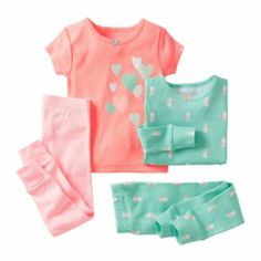 includes: short-sleeve top, long-sleeve print top and 2 pants sugar glitter screenprint on short-sleeve top pieces mix and match covered elastic waist on pants cotton washable imported