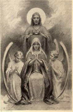 The Crowning of Mary, antique prayer card