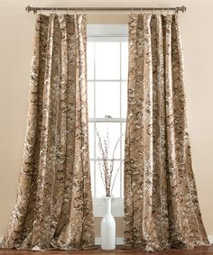 Taupe Woodland Curtain Panel   Set Of Two