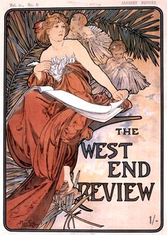 """saveflowers1:  Art by Alphonse Mucha (1898) - """"The West End Review."""""""