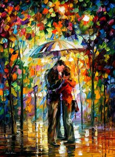 KISS IN THE PARK - PALETTE KNIFE Oil Painting On Canvas By Leonid Afremov…