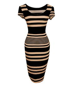 Another great find on #zulily! Taupe & Black Stripe Bodycon Dress by Bonmode #zulilyfinds