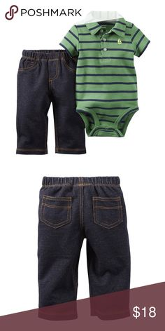 Carters infant boys 2pc outfit NWT. Your little guy will look great and stay comfortable all day long in this ready-to-go, cotton bodysuit set.  includes embroidered bodysuit with collar and pants front-button placket short sleeves nickel-free snaps on reinforced panel no-pinch elastic waist faux-fly 100% cotton Carter's Matching Sets