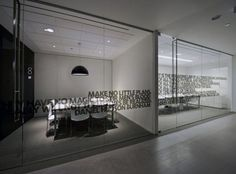 Conference Room Glass Walls. Its cool being able to seeing into the room.: