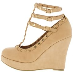 TINA8 NUDE T-STRAP STUDDED WEDGE August 2015 Online Shopping Haul via @WholesaleFashionShoes  Follow Me At Pinterest/MissyK'sCloset