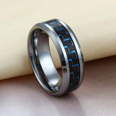 High Polished Tungsten Ring with Blue & Black Carbon Fiber Inlay | Tungsten Carbide Rings 24HOUR SHIPPING