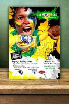 """Cartaz desenvolvido pela LOA DSGN para promover a peça """"Um só coração"""" para a Cia Dom Caixote."""