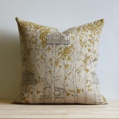 treehouse pillow (in yellow and gray) by jenna rose.